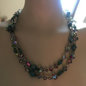 Vintage Aurora Borealis & Sugar Bead Necklace